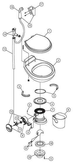 Traveler Toilet Parts R/V and Marine - 510H Traveler Toilet Parts ...